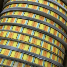 Crazy Discount 3/8'' 9mm Lemon Yellow Blue Stripes Thanksgiving Day Printed Grosgrain Ribbon for Gift,Party/Tree Decos,100 Yards(China)