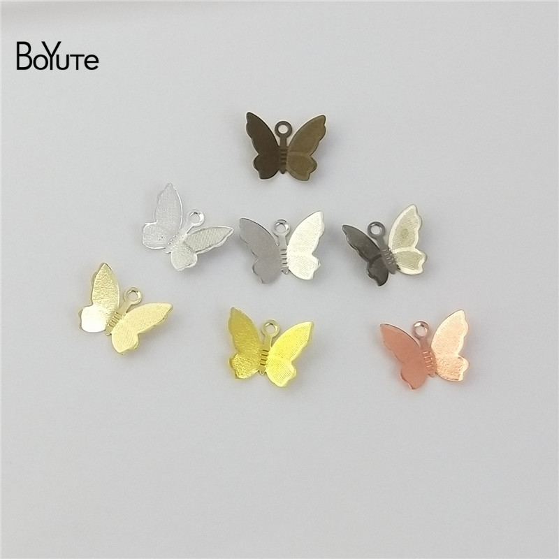 BoYuTe 100Pcs 1113MM Butterfly Charms Diy Hand Made Metal Brass Accessories Parts for Hair Jewelry Making (5)