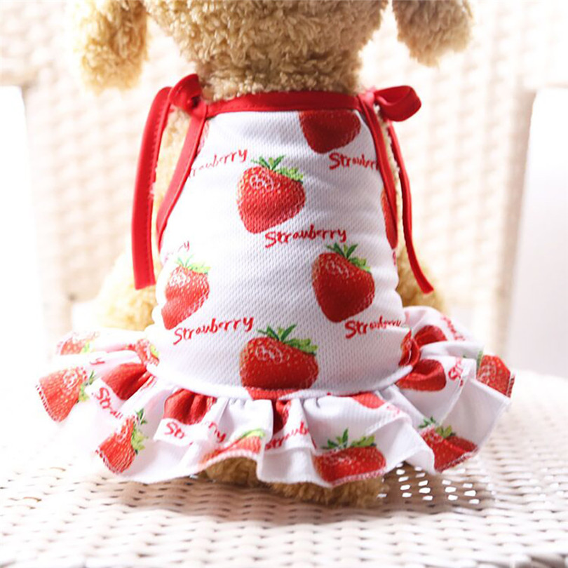 Pet Dogs Dress Breathable Polyester Fruit Print Pet Couples Dress Puppy Dog Princess Lovely Strawberry Pineapple Dress (4)