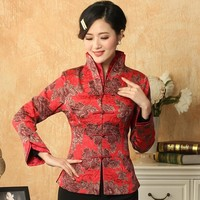 High Quality Red Lady Polyester Coat Middle Aged Mother Casual Jacket Single Breasted Flare Sleeve Jacket Size S To XXXL NJ108