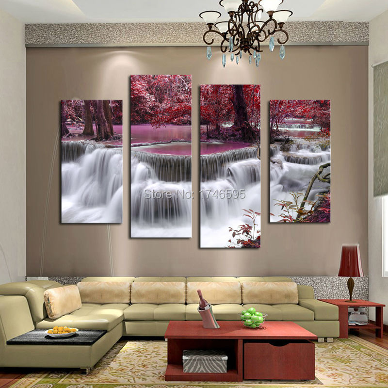 Waterfall river Flow Autumn Purple waterfall river Flow Autumn Purple 1  Aliexpress com   Buy 4pcs living room home decor waterfall river  . Living Room Waterfall. Home Design Ideas