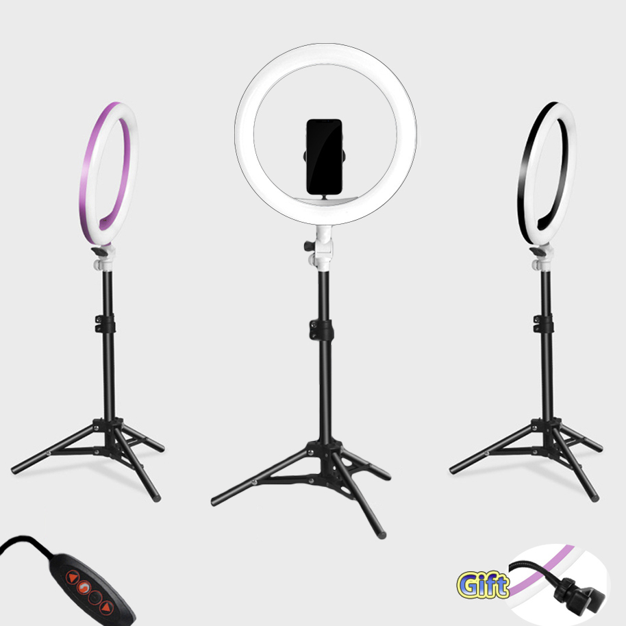Photography LED Selfie Ring Light three speed cold and warm stepless Lighting Dimmable with USB Plug Lamp&Tripod Stand