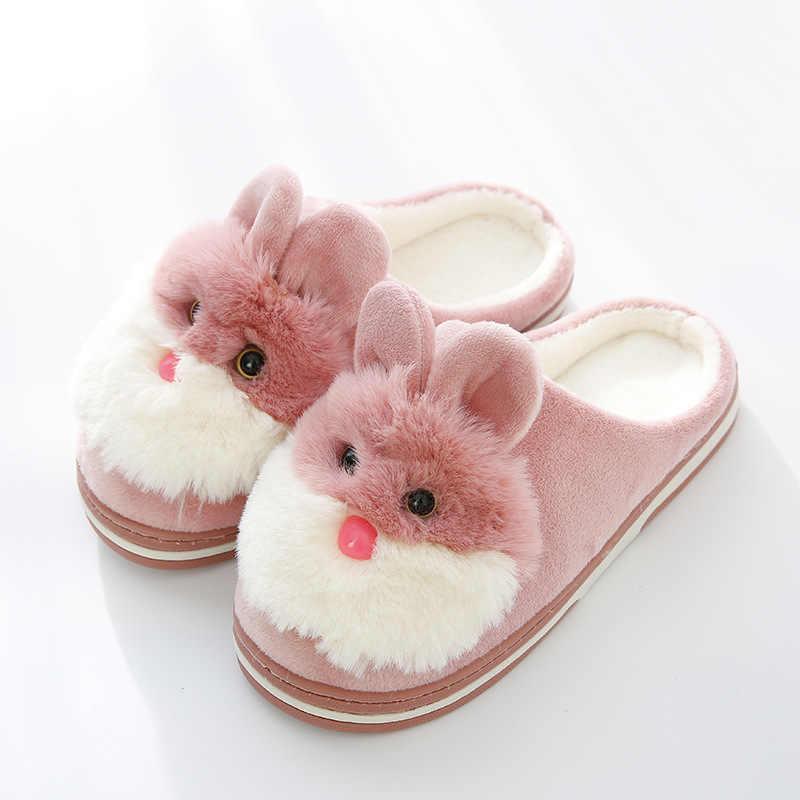 Женские домашние хлопковые тапочки; женские зимние Нескользящие домашние тапочки с рисунком кролика для девочек; теплые тапочки; SP4