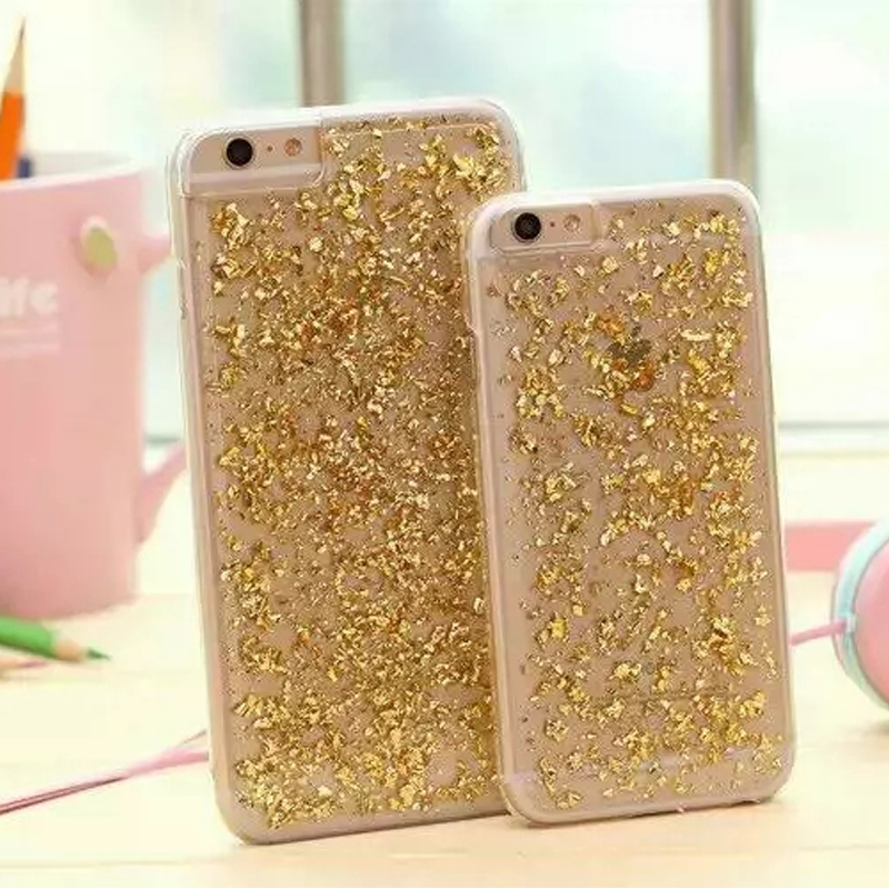 Top Glitter Gold-plated bling phone case for iphone 6 6 plus 4.7   5.5 capa  luxury ninas transparent back cover Sparkle cover 833b98e9de1b
