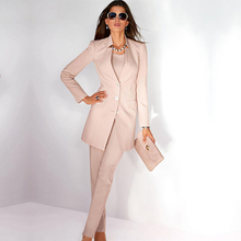 Jacket+Pants Womens Business Suit Light Pink Long Sleeves Female Office Uniform Ladies Formal Trouser Suits Single Breasted
