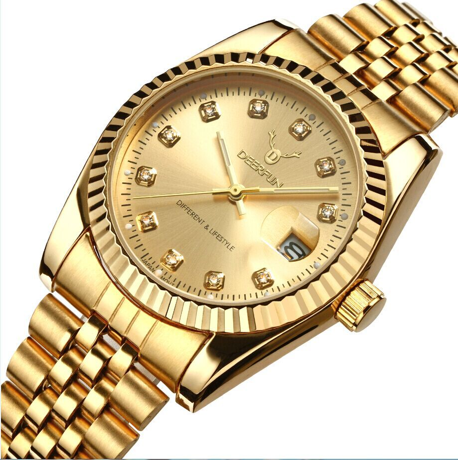 e53a65bf9cb Os homens assistir Deerfun negócio marca ouro diamante calendário de moda  de luxo à prova d