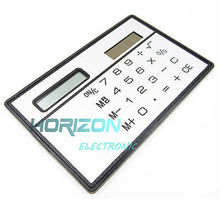 8 Digits Ultra Thin Mini Slim Credit Card Solar Power Pocket Calculator White