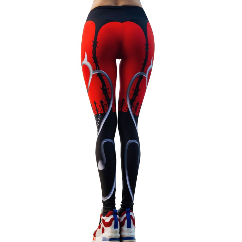 High Quality New Sexy Heart Print Leggings Women Red Black Patchwork Sporting Pants Fashion Printed Women's Fitness Leggings