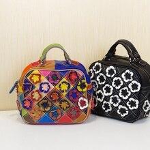 2016 echte Echtem Leder Farbstoffgleichen Blume Plaid bunten Portable Schulter kreuzkörper frauen Rindsleder handtasche