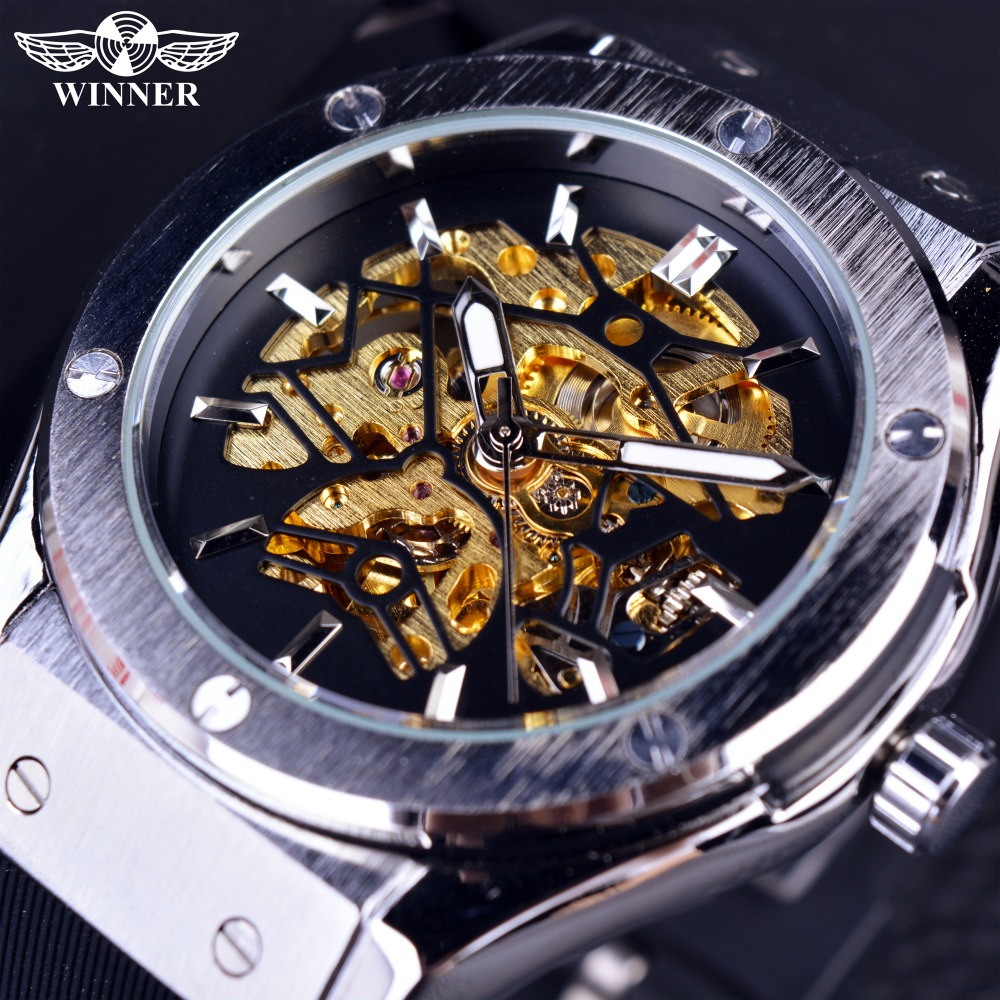 Winner Sport Design Mens Watches Top Brand Luxury Automatic Watch Men Golden Skeleton Rubber Band Men Military Watch Clock Men winner classic retro design transparent golden case back mens watches top brand luxury automatic male mechanical skeleton watch