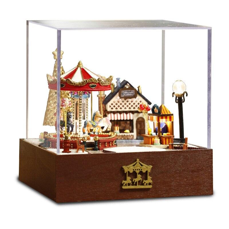 Bricolage carrousel boîte à musique fait à la main insolite noël coffrets musicaux bois carrousel accessoires pour la maison carrousel fête décorations