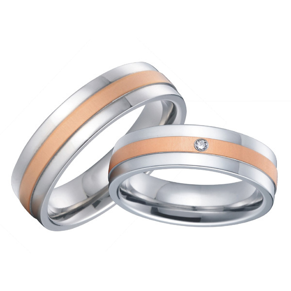 Custom bridal pair mens and womens titanium steel couples wedding custom bridal pair mens and womens titanium steel couples wedding rings sets 2015 new rose gold color alliances anel in wedding bands from jewelry junglespirit Images