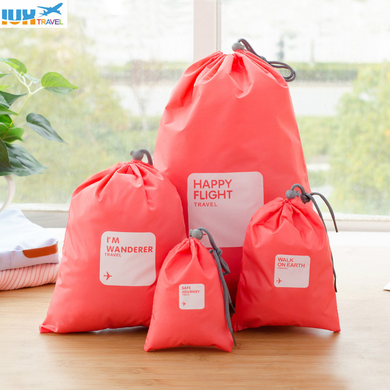 4pcs/Set Travel Accessories Men and Women Clothes Classified Organizers Packing Shoes Luggage Drawstring oxford Bags