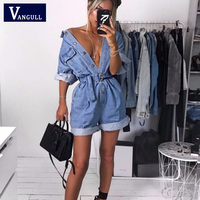 Vangull Summer Casual Women Denim Romper High Waist Jeans Overall Wide Leg Jumpers Lapel Pocket Shorts Jumpsuit Playsuit 2019