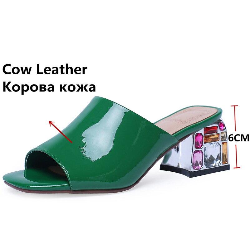 Fedonas Tacones Cuadrados Cuero Fiesta rojo Boda blanco Slip Bombas Verano Zapatos on Patente Mujeres Nuevo Calidad Las De Mujer Roma Sandalias Verde azxawqrZ
