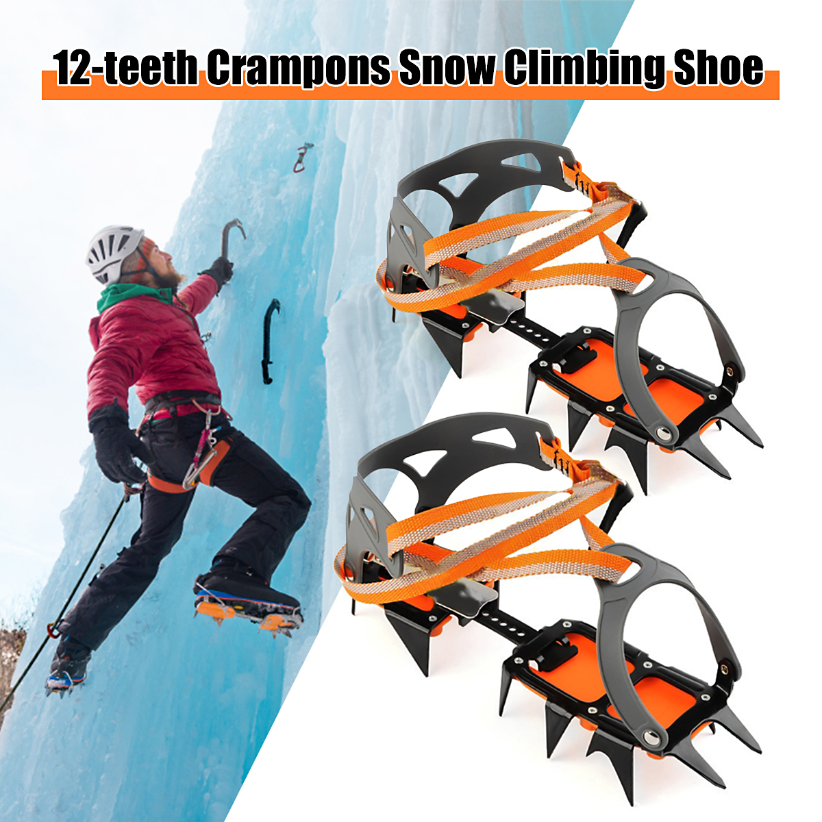 New arrival 1 Pair Ice Crampons Non-Slip Snow Shoe Spikes Grips Cleats crampons Winter Climbing Hiking Anti Slip Safety Tool quality m l size crampons 8 teeth outdoor mountaineering hiking antislip ice snow spikes shoe crampons shoe spikes skidproof