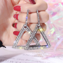 Triangle Crystal Earrings 2019 Trend Fashion Jewelry Cute Romantic Personality Geometric Rhinestone Hollow Earrings for Women(China)