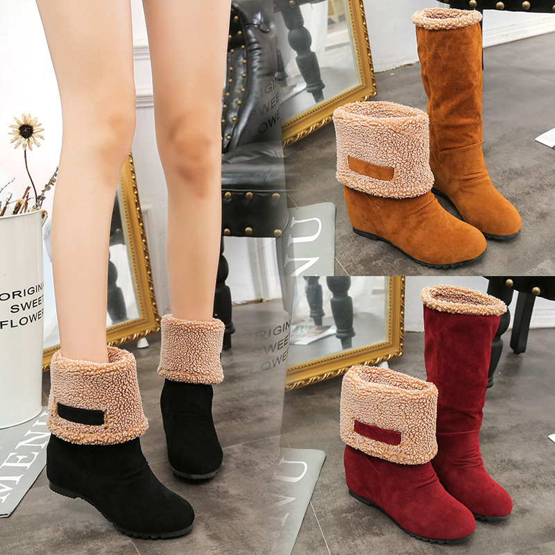 Hot Increased Women Shoes Boots Winter Warm Snow Boots Women Botas Middle Tube Flock Ladies Winter Shoes Women Black Two Wear