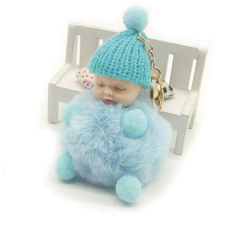... Zoeber Cute Sleeping Baby Doll Key Chain Faux Rabbit Fur Keychain  Fluffy Pom Pom Pompom Bowknot ... d8ac83339f93