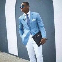 Blue Men Suits for Wedding Prom Man Blazers Groomsmen Tuxedos Latest Coat Pants Design 2Piece Slim Costume Homme Terno Masculino