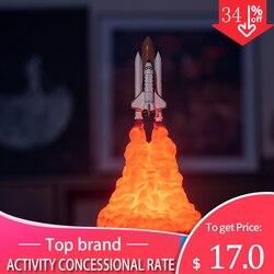 2019 mais novo dropshipping 3d impressão espaço shuttle lâmpada recarregável luz da noite para os amantes do espaço lua lâmpada como a decoração do quarto