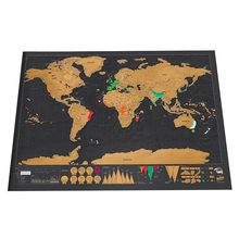 2PCS Deluxe Erase Black World Map Scratch off Personalized Travel Room Home Decoration Wall Stickers