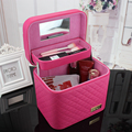European Hot Plaid Designer Ladies Beauty Case Multifunction Zipper Organizer Cosmetic Bags Makeup Box Cube Sorting Vanity Case