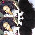 Estilo Afro Crespo Cabelo crespo Cabelo Virgem Encaracolado Kinky mongol 4 pcs rosa queen produtos para o cabelo encaracolado tecer cabelo humano extensões