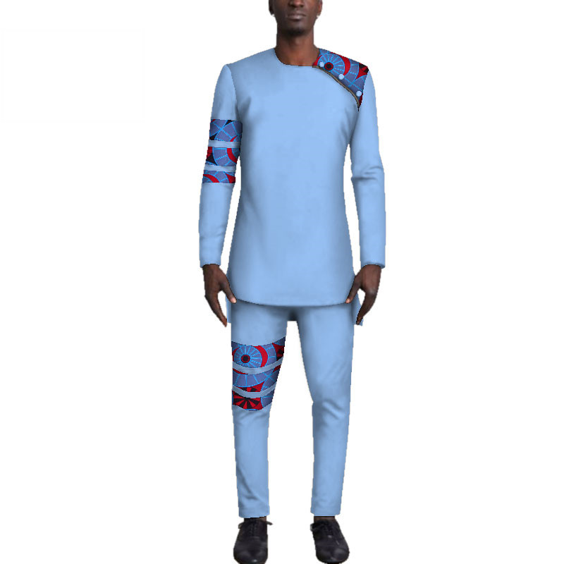 Casual-Mens-African-Clothing-Bazin-Riche-Patchwork-Top-Shirt-and-Pants-for-Men-Custom-100-Cotton(12)