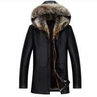 raccoon fur leather jacket 2017 Winter PU Jackets Leather Coat Men's Hooded Faux Leather Jackets 50% Off Faux Leather Overcoat
