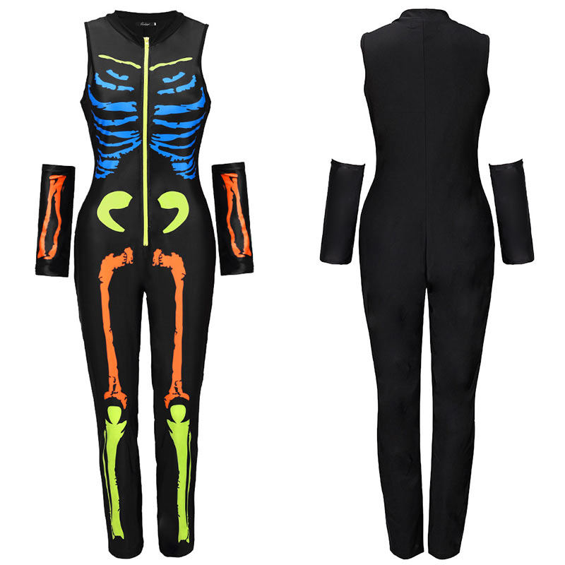 Women Halloween Jumpsuits Costumes Ghost Festival Horror Skeleton Conjoined Gowns Party Sexy Performance Rompers Cosplay Clothes (46)