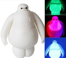 NEW 15cm Big Heros 6 Baymax  Fat Balloon Man with Shining led light Action Figure Robot Doll Classic Toys Kid Gift