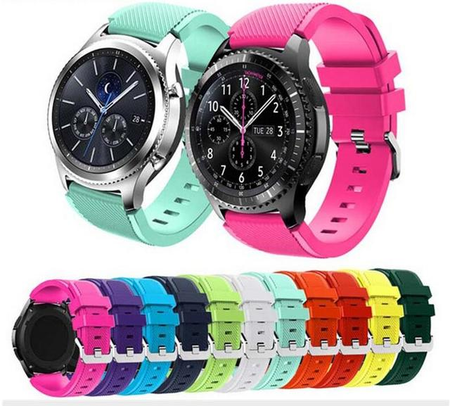 22mm Soft Silicone Replacement Bracelet Strap for Samsung Gear S3 classic pebble