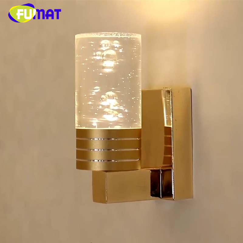 FUMAT Wall Lamp Bedside Wall Light For Bedroom Bubble Acrylic Wall Lamp Modern Art Living Room Light Corridor Wall Sconce Gold