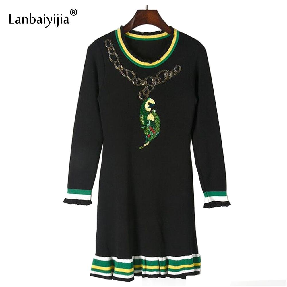 Lanbaiyijia Date robe d'automne Femmes Ruches décoration paillettes motif de perroquet à manches longues Genou-Longueur Femmes robe tricotée