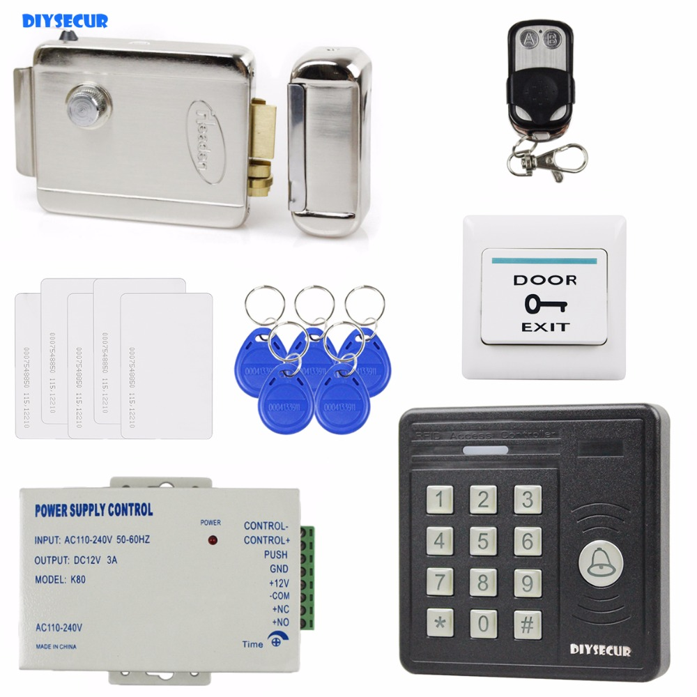 DIYSECUR Remote Control Waterproof 125KHz Rfid Card Reader Keypad + Electric Strike Lock Door Access Control Security Kit KS159 diysecur 125khz rfid metal case keypad door access control security system kit electric strike lock power supply 7612