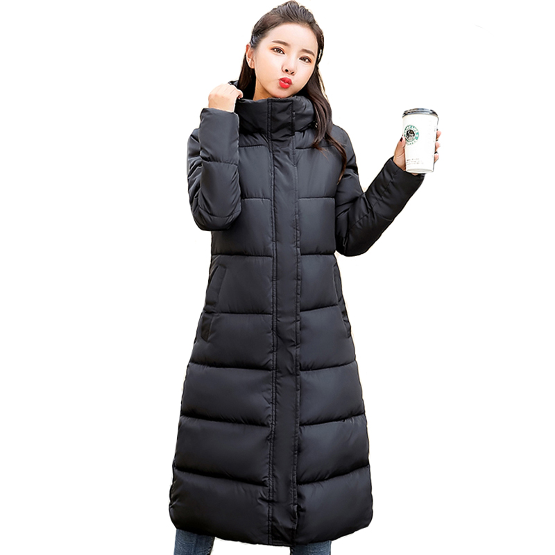 2019 Women Winter Jacket Plus Size 3XL 4XL Hooded Cotton Padded Female Coat Outwear High Quality Solid Warm Long   Parka     Parkas