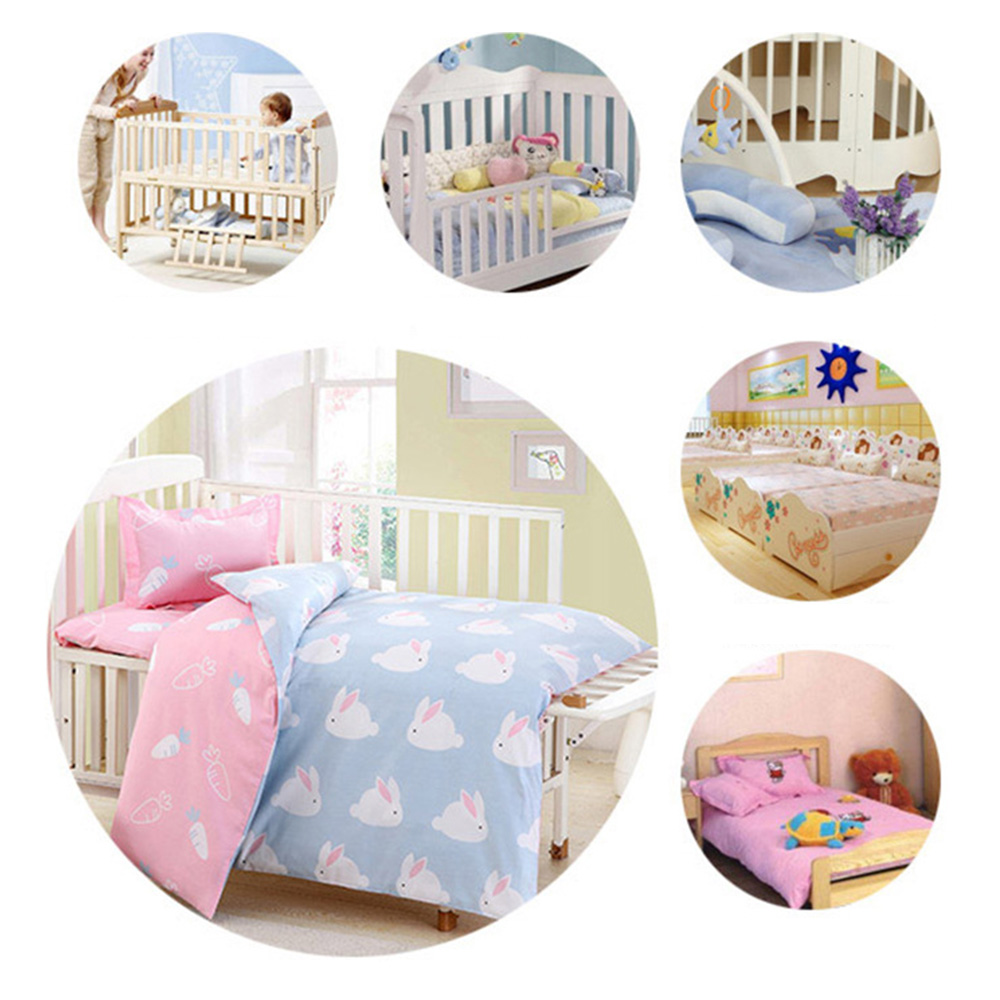 3Pcs Cotton Crib Bed Linen Kit For Boy Girl Cartoon Baby Bedding Set Pillowcase + Bed Sheet + Duvet Cover (Without Filler) Best Children's Lighting & Home Decor Online Store