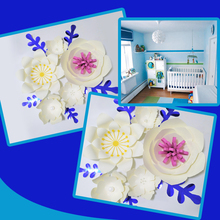 Handmade Ivory Easy Made DIY Paper Flowers Blue Leaves Set For Nursery Wall Deco Baby Shower Backdrop Video Step By