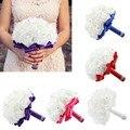 Нью-роза искусственный свадебные букеты королевский голубой шелковой лентой невесты ручной кристалл розовыми цветами-свадебные цветы букет