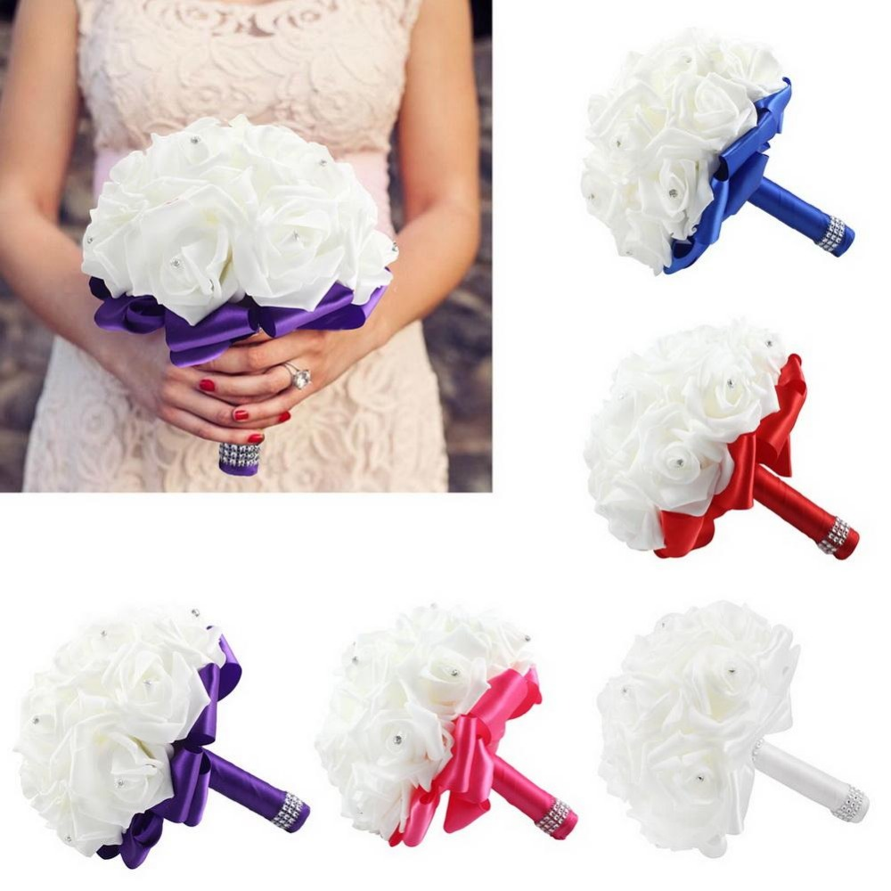 New Rose Artificial Bridal Bouquets Royal Blue Silk Ribbon