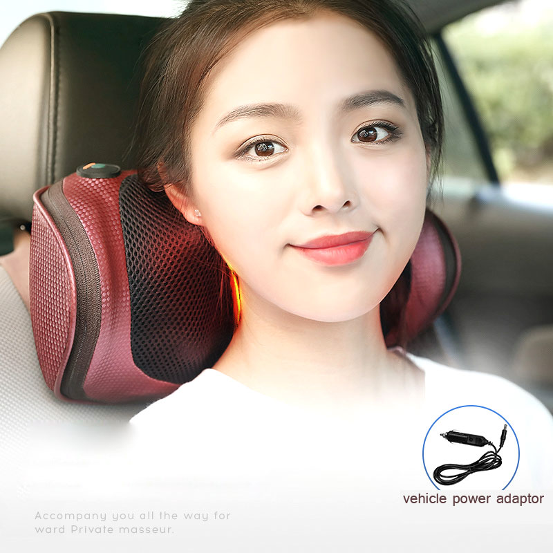 Electric Car Cervical Vertebra Massage Cushion Pillow Neck Waist Back Multifunction Massage Vibrator Lumbar Kneading Pillow Pad automobile interior decorations car massage electric waist cushion magnetic vibrating massage lumbar protective hot sale