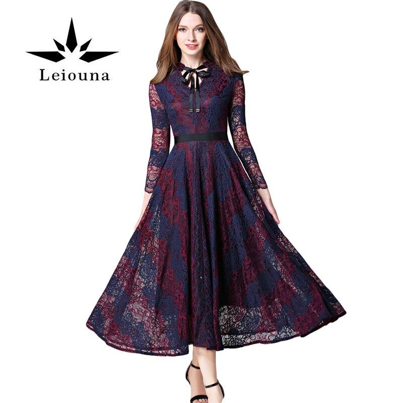 Leiouna Lace Knitted Purple Party Summer Dress Girls Hollow Out Long Pendulum Longuette Woman New V-neck Applique Runway коляска esspero summer line light purple sl010a 108068275