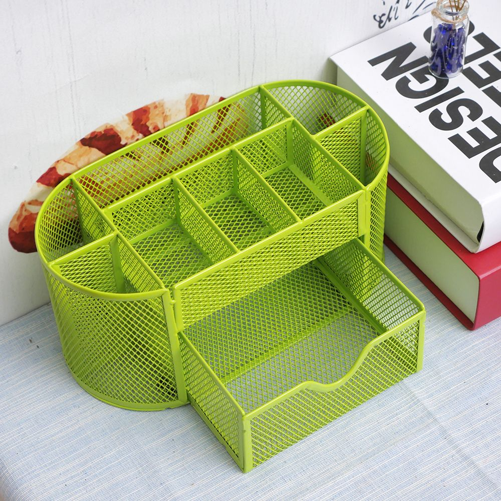 22*11*10.5cm Multifuction Stationery Desk Organizer Pen Holder 9 cells Metal Mesh Desktop Office Pen Pencil Holder Study Storage metal pen holder mesh desk organizer mesh pen holders storage box metal desk storage holder office home supplies iron pen holder