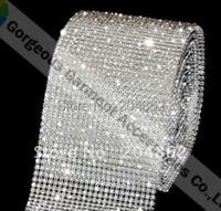 10 yards 24 rijen plastic rhinestone cake trim crystal banding met SS12 stones transparent base voor diy bruiloft accessoires