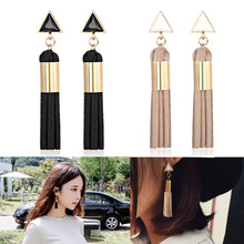 New Fashion Accessory Vintage Triangle Tassel Drop Earrings Faux Suede Fabric Long Dangle Earrings for Women