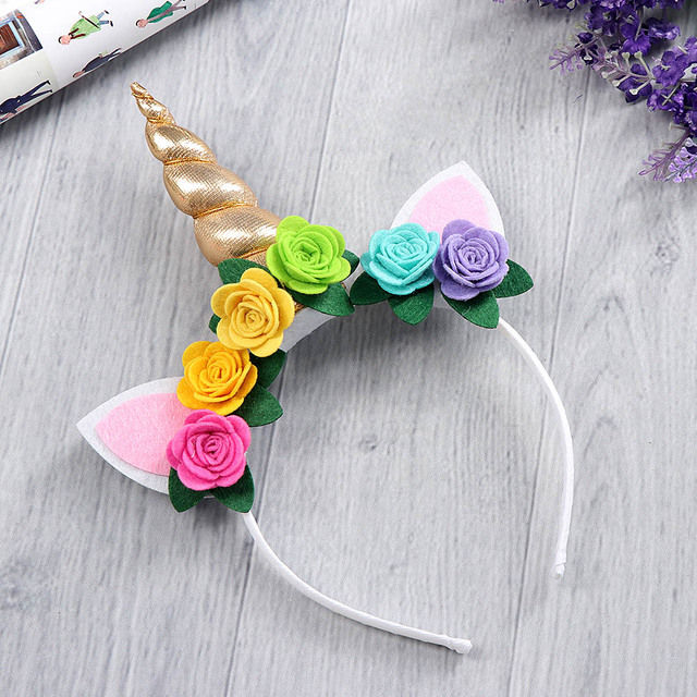cfa93d40131e7 1PC Gold Unicorn Hairbands or Hairpin Beautiful Rose Flower Unicorn Party  Stretch Headband Hair Clips Girl
