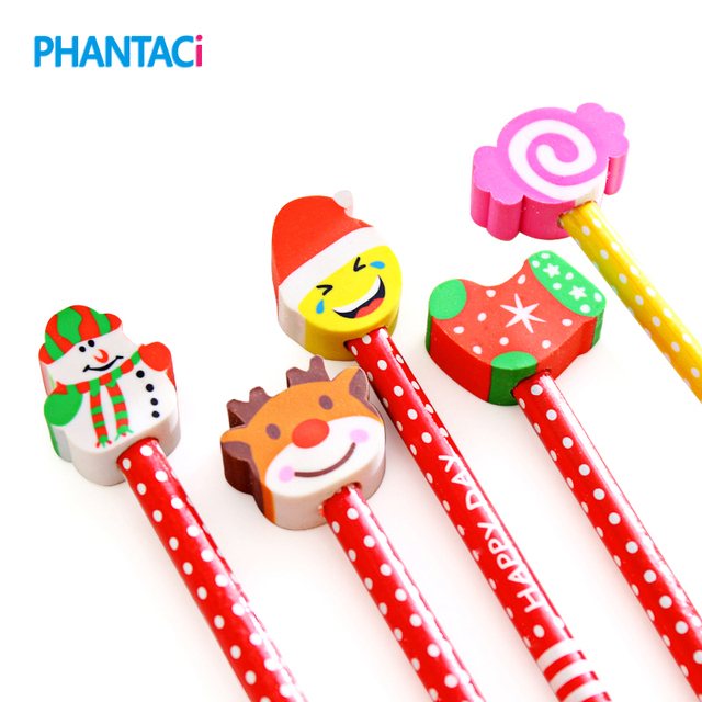 6 Pcs Lot Merry Christmas Style Pencils With Eraser For Kid Cute Kawaii Wooden Writing