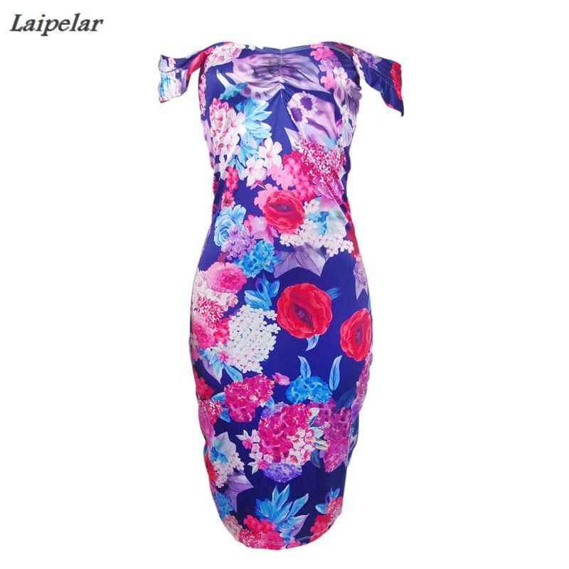 2018 新着セクシーな花柄ブルーシースドレスパーティークラブレディースエレガントなヴィンテージツイードドレス秋 2018 ファッション
