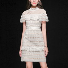 Seifrmann New 2019 Women Spring Summer Dress Runway Fashion Designer Lace Hollow Out Embroidery Ruffles Elegant Party Dresses